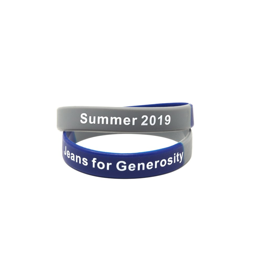 Blue and gray segmented wristbands that say jeans for generosity and summer 2019.