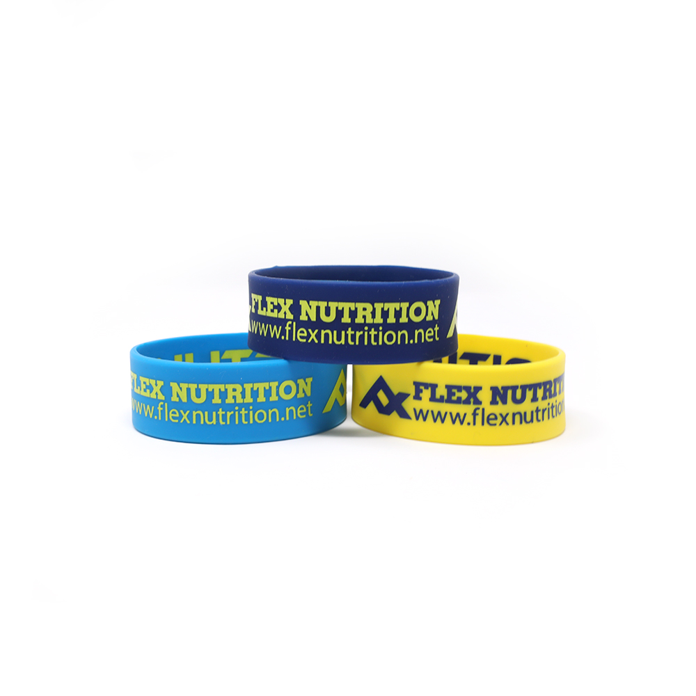 Printed 1-inch wristbands that say Flex Nutrition.