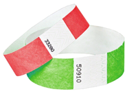A green and red Tyvek wristbands.
