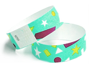 A custom instock Tyvek wristbands.